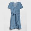 Short Sleeve Ruffle Wrap Dress